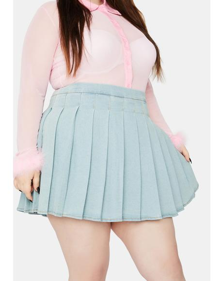 Always Daring Denim Pleated Skirt