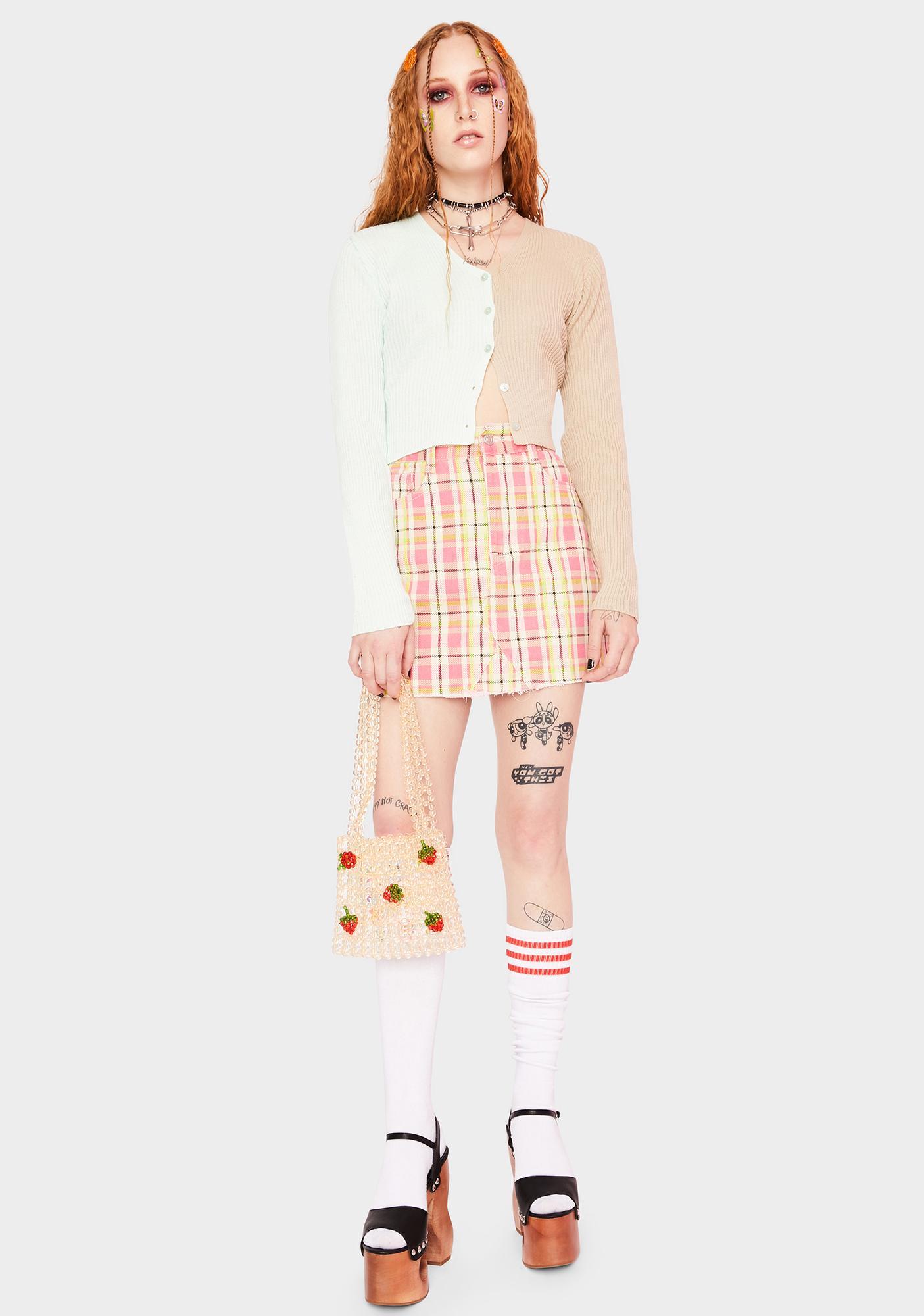 Momokrom Pink Plaid Denim Mini Skirt