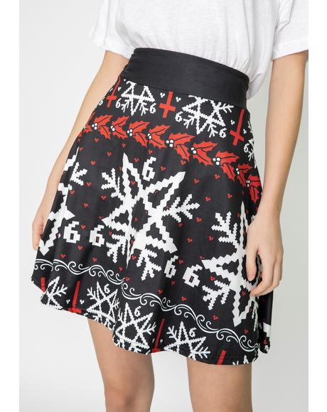 Pentagram Snowflake Skater Skirt