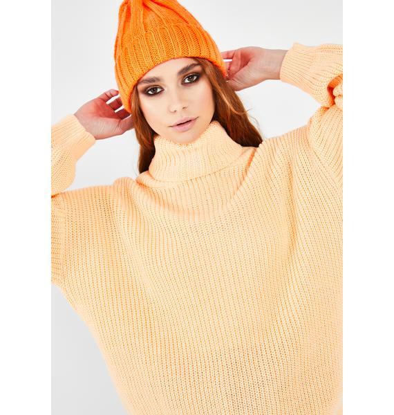Glamorous Apricot Ribbed Turtleneck Sweater