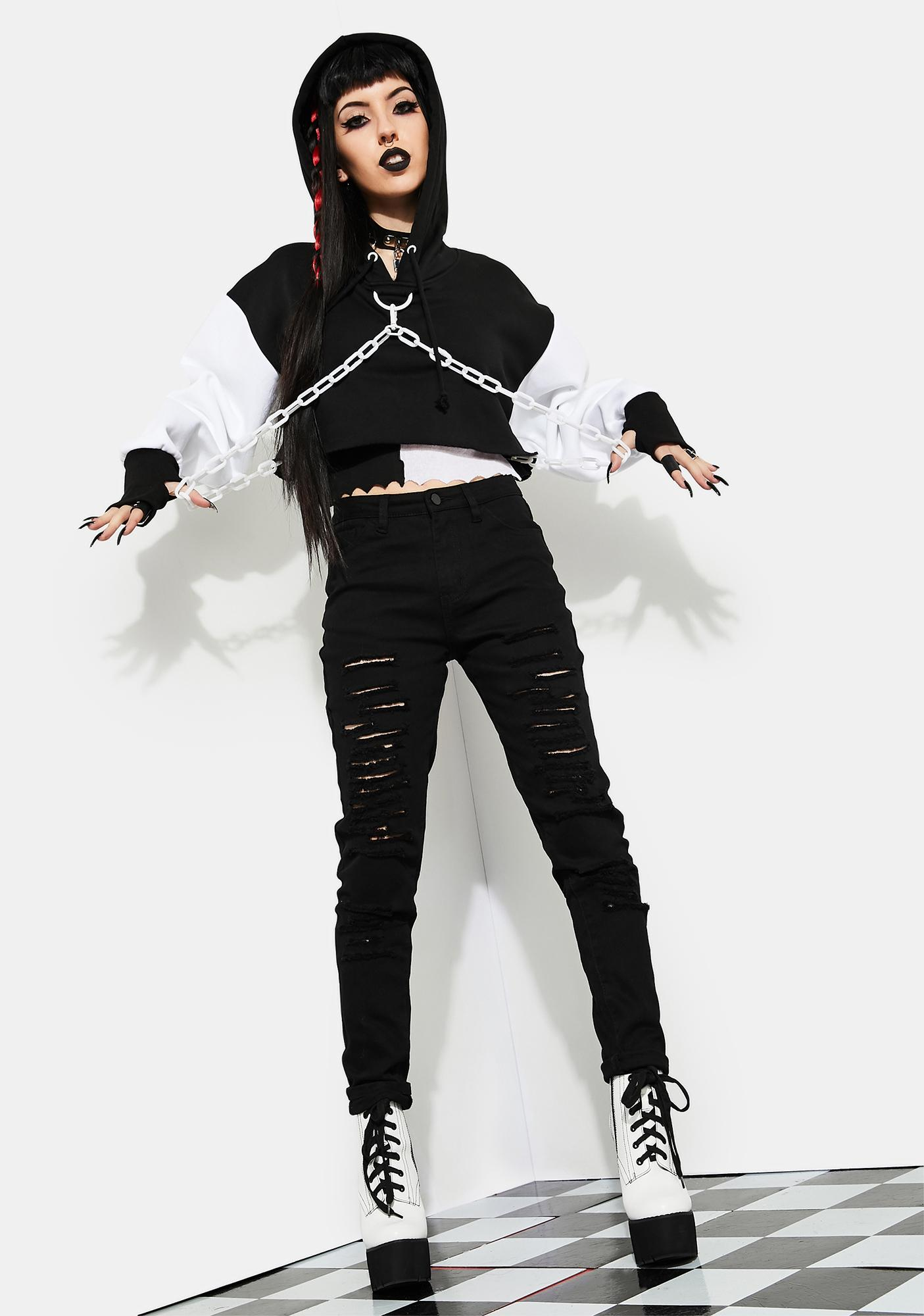 Current Mood Love Riot Chained Crop Hoodie