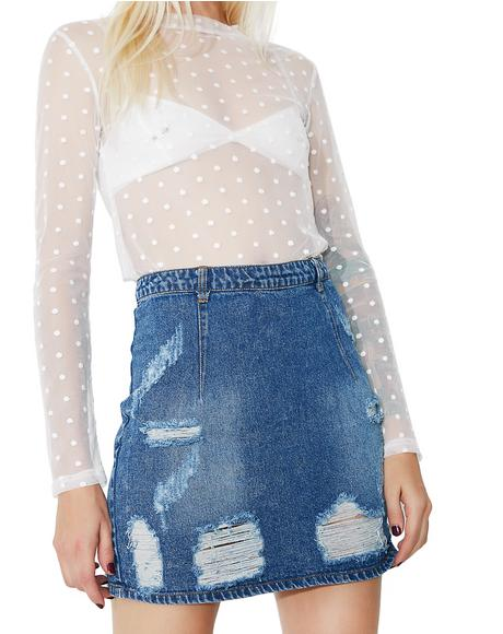 Raw Cut Distressed Denim Skirt