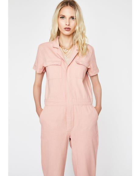 Blush My Lane Cargo Jumpsuit