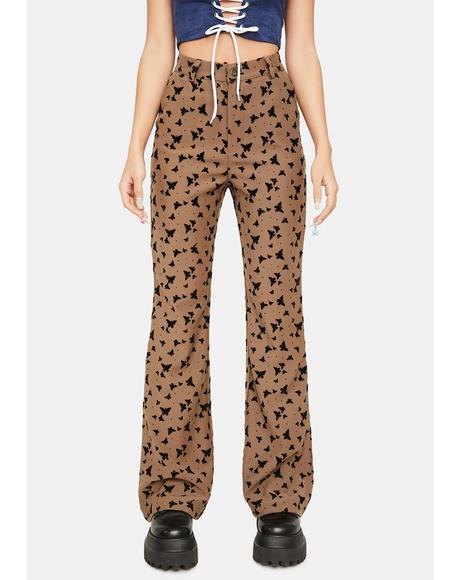 Brown Butterfly High Waist Pants