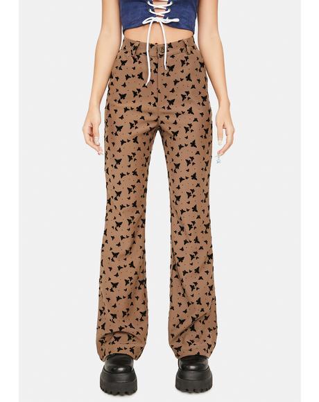 Brown Butterfly High Waist Pants