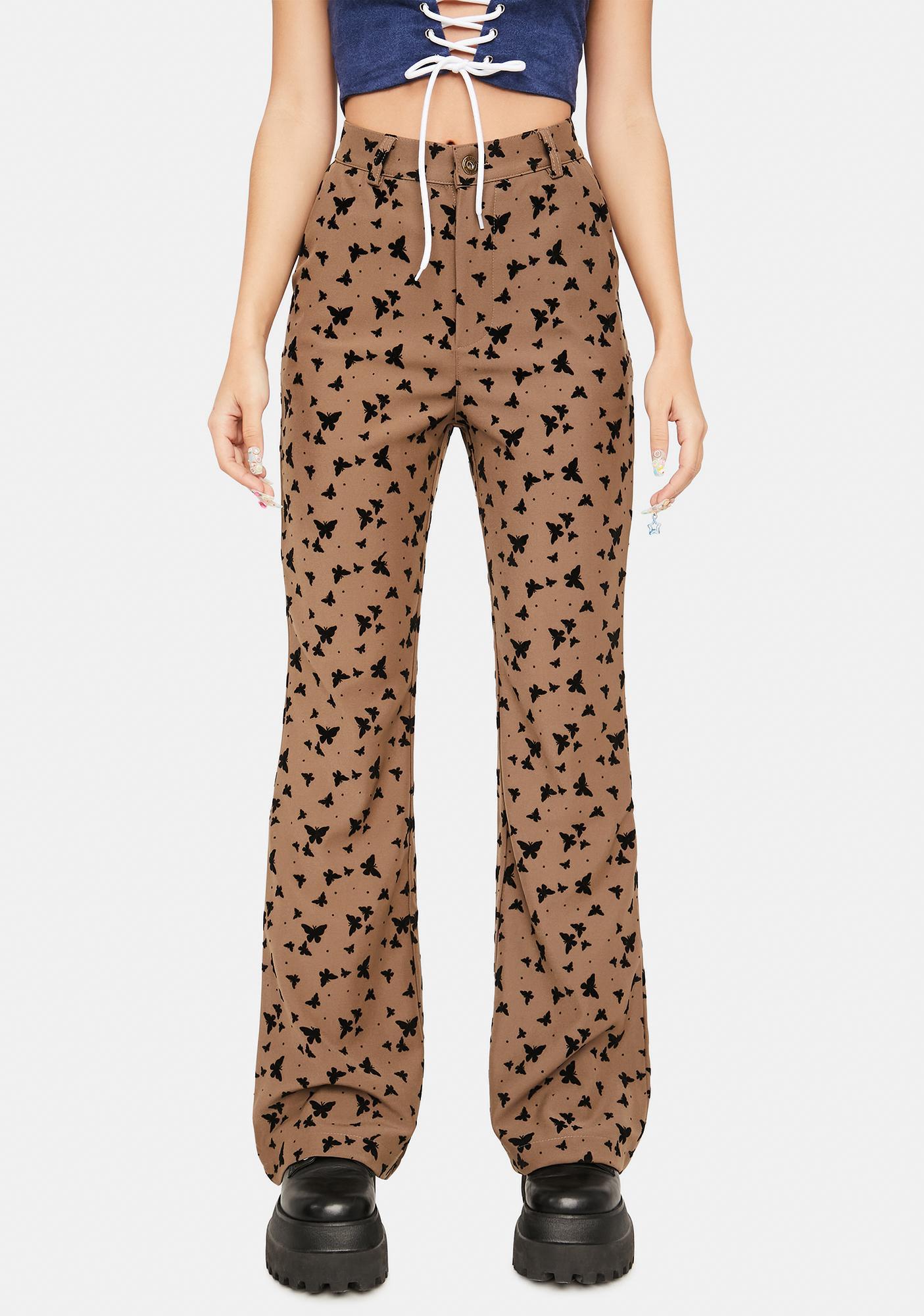 ZEMETA Brown Butterfly High Waist Pants