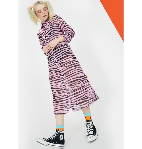 Lazy Oaf X Flintstones Dino Sheer Shirt Dress