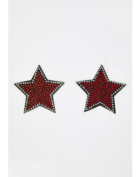 Rhinestone Embellished Star Pasties