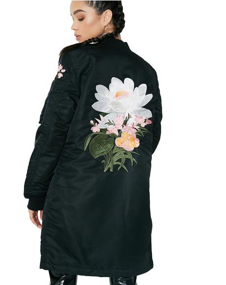 MA-1 Blossom Souvenir Illusion Long Coat