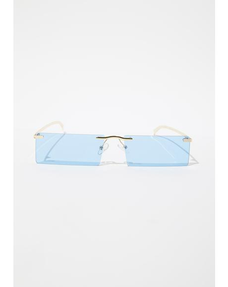 Lil Bit Shady Frameless Rectangle Sunglasses