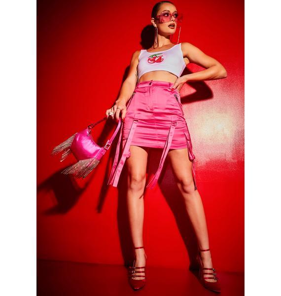 Poster Grl Heiress Express Satin Mini Cargo Pocket Skirt