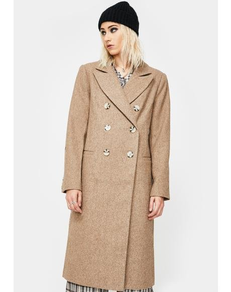 Double Breasted Long Wool Peacoat