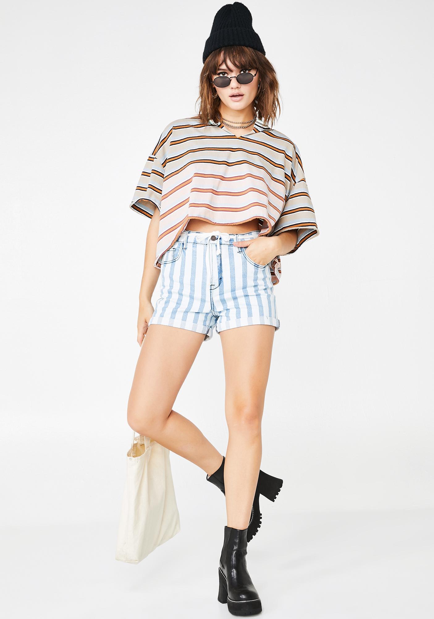 Hidden Denim Sofie Medium Wash Striped Mom Shorts