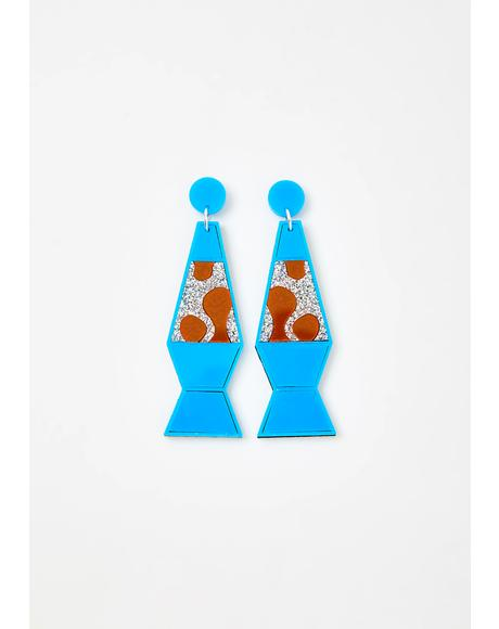 Blue Lava Lamp Earrings