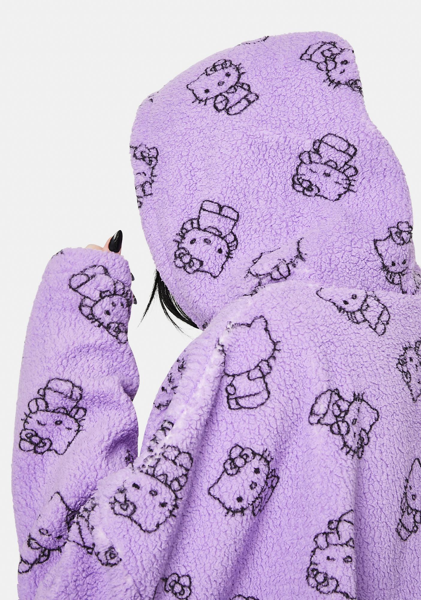 NEW GIRL ORDER Purple Hello Kitty Printed Fleece Hoodie