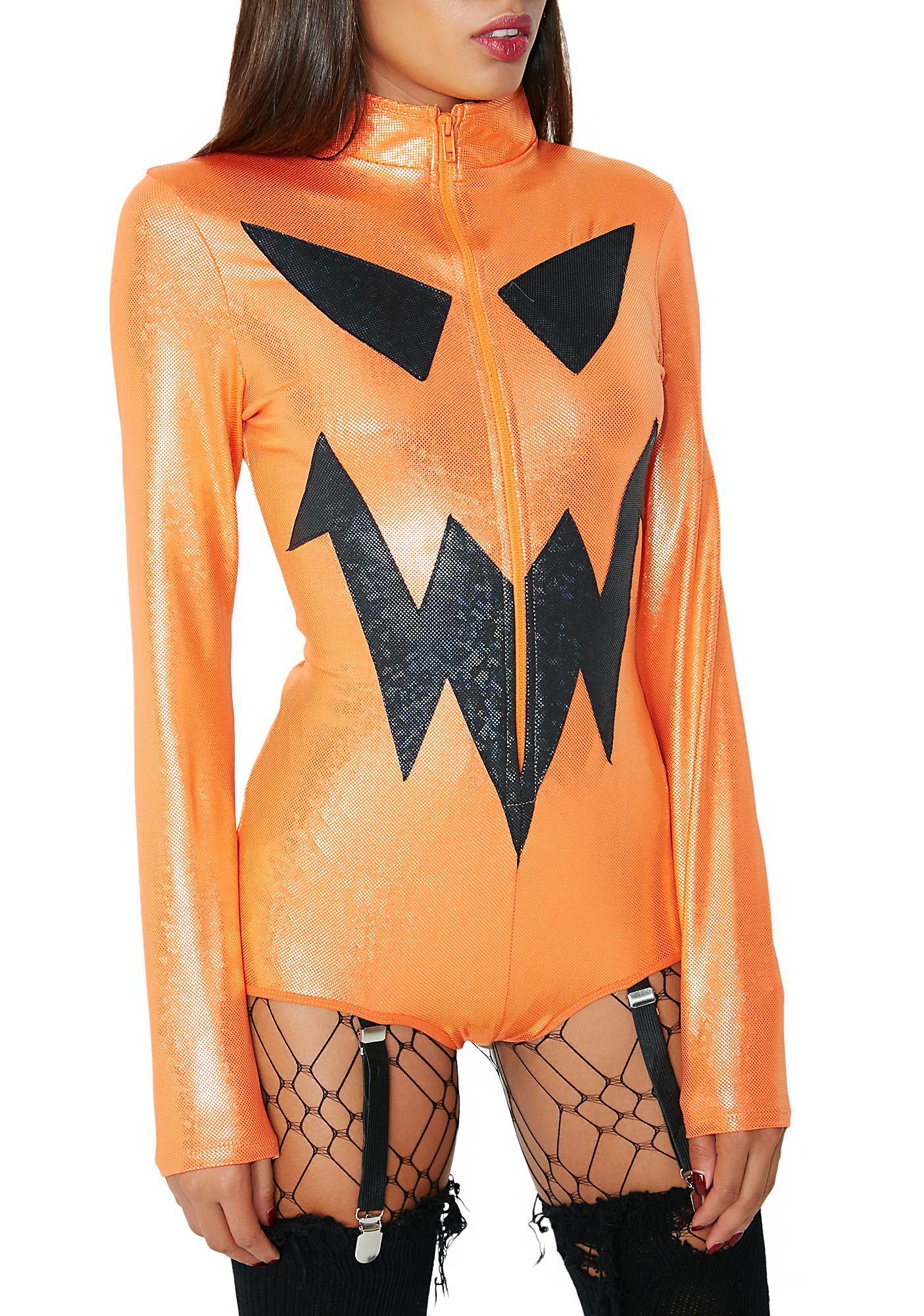 Jack-O-Lantern Iridescent Bodysuit