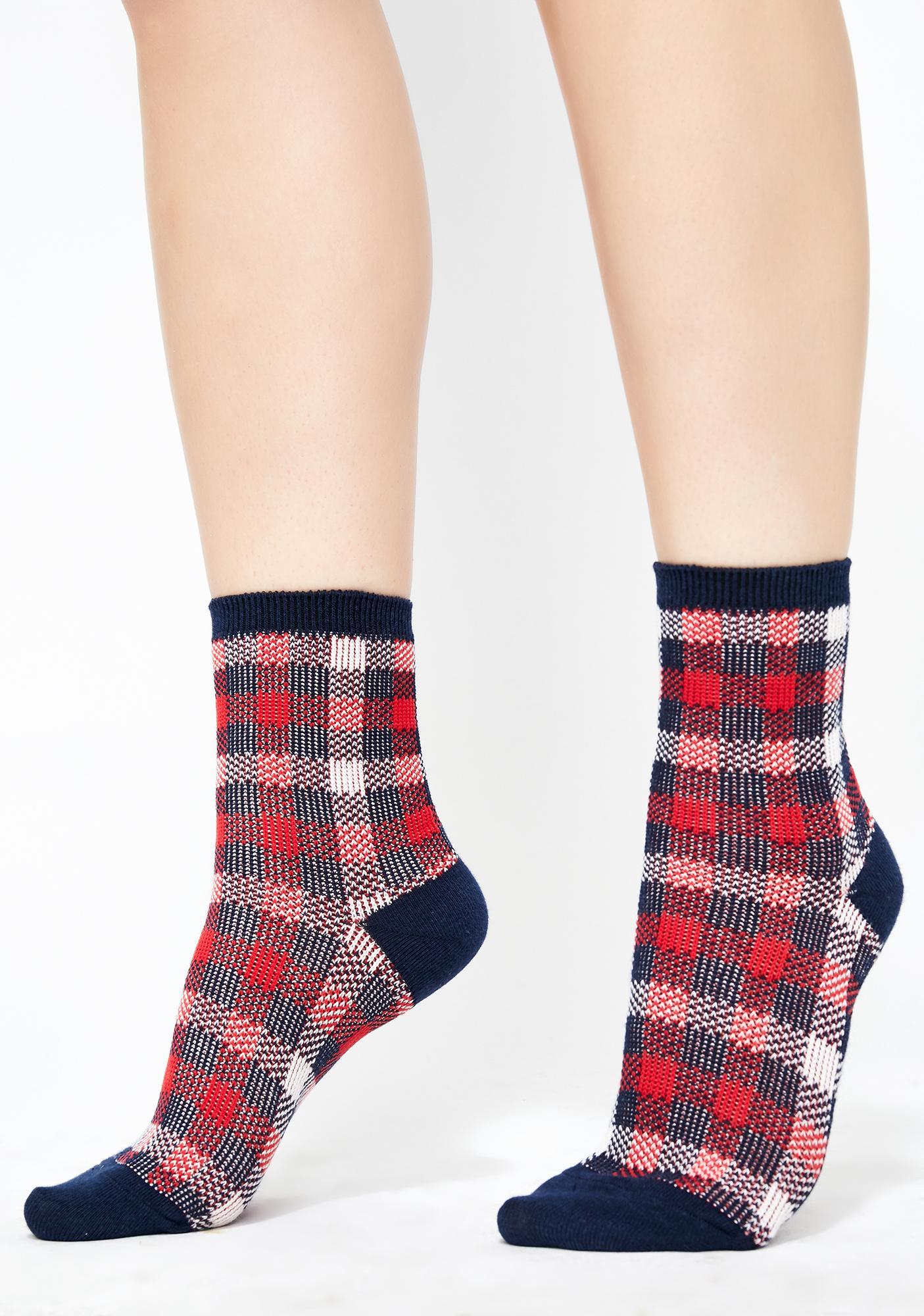 Navy Teenage Tycoon Plaid Socks