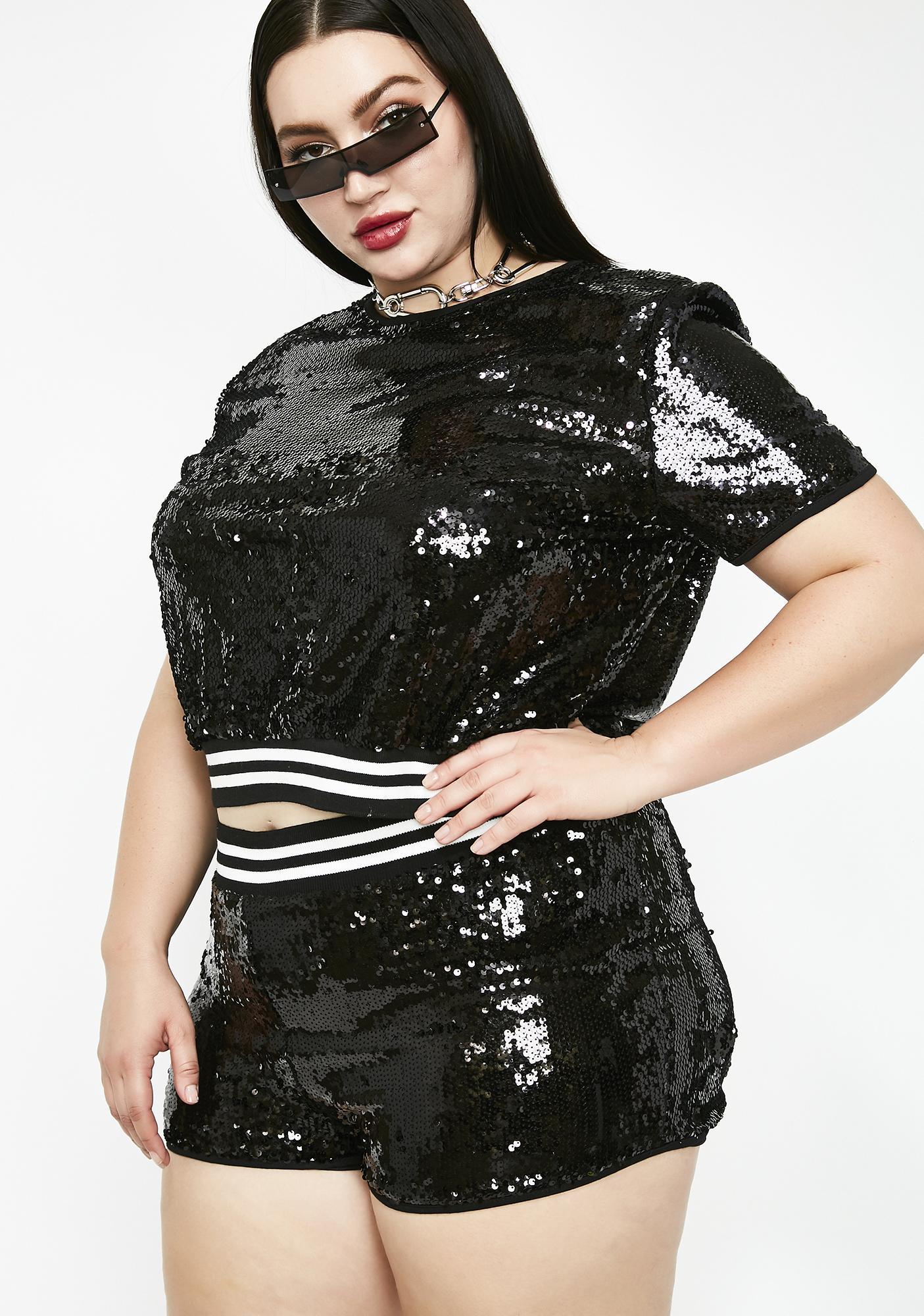 bd4f9c74dd9 Plus Size Sequin Shorts Set Black