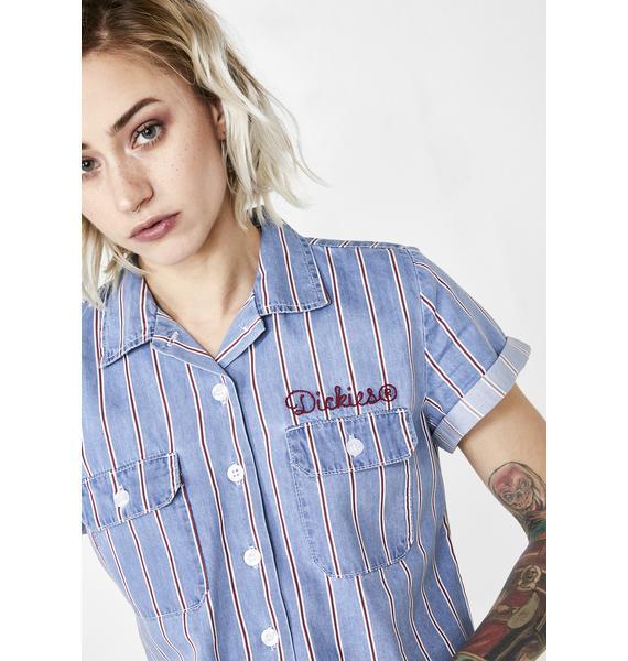 Dickies Girl Peppermint Stripe Cropped Work Shirt