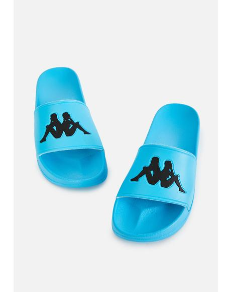 Teal Blue Authentic Adam 2 Slide Sandals