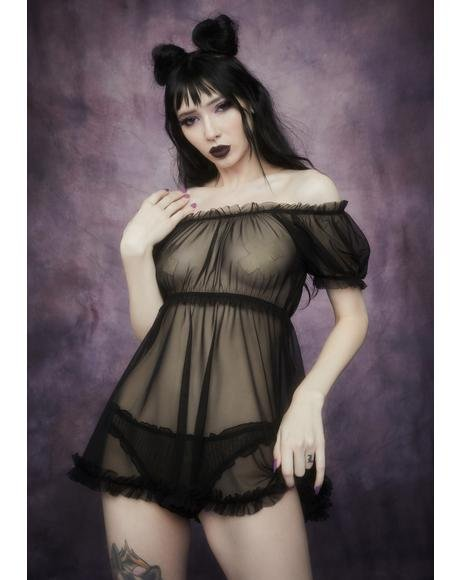 Mist Of Midnight Mesh Babydoll Set