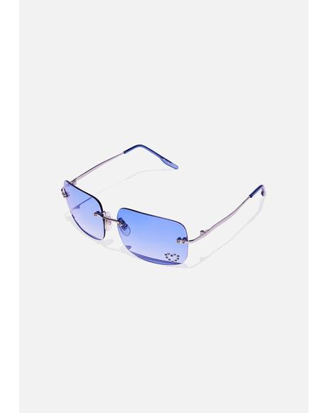 Blue Sweetheart Clear Sunglasses
