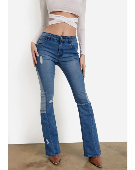 Make It Last Bootcut Patchwork Jeans
