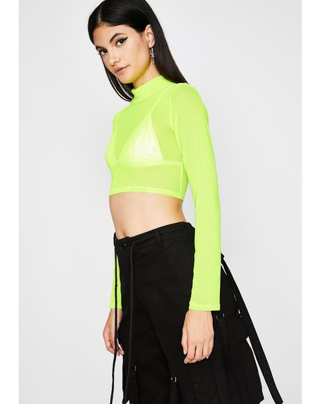 Slime Dime Sheer Crop Top