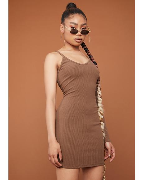 Mocha Too Annoyed One Sleeve Bodycon Mini Dress