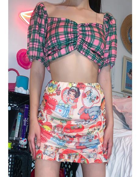Heart Print Mini Skirt
