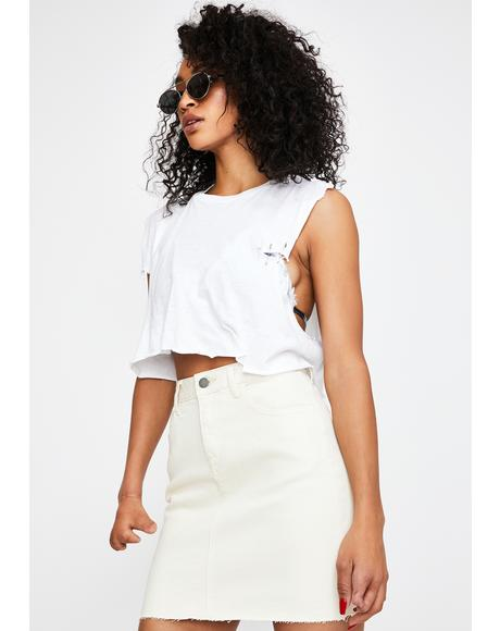 White Seymour Denim Mini Skirt