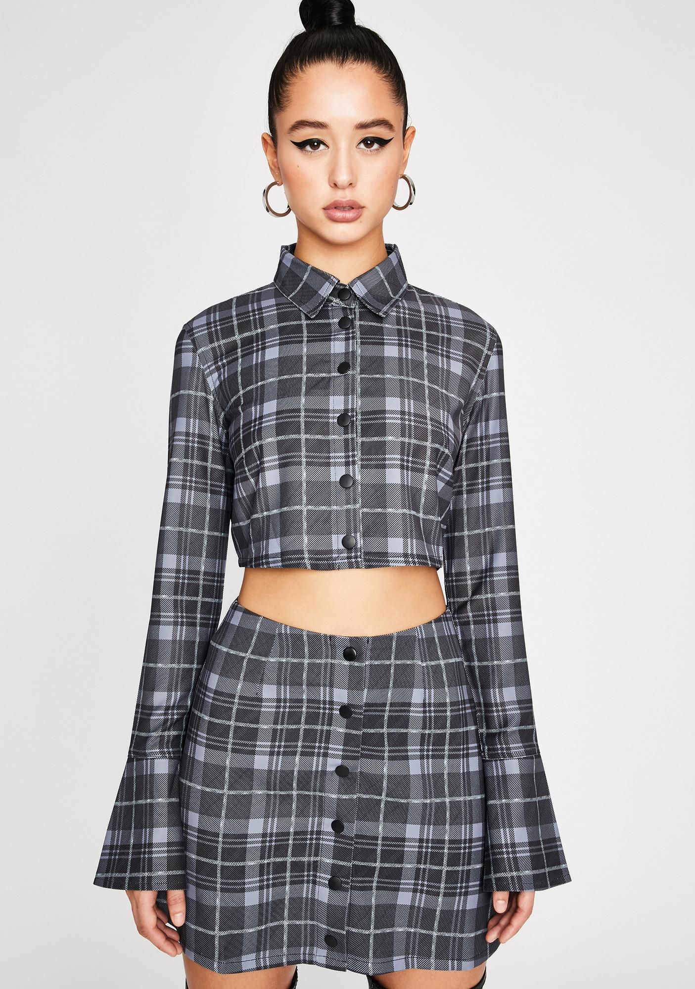 Poster Grl Back In Session Plaid Crop Top