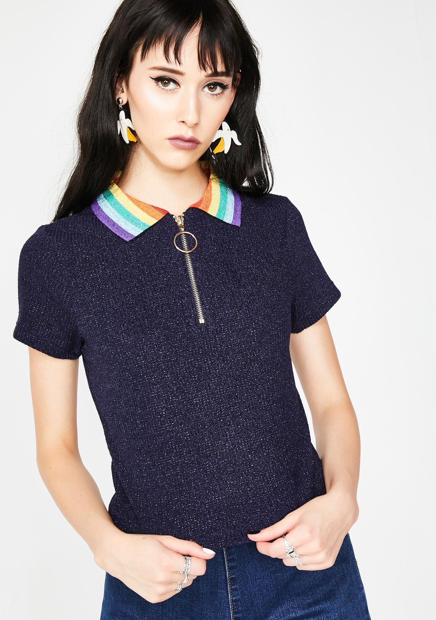 Lazy Oaf Sparkly Polo Top