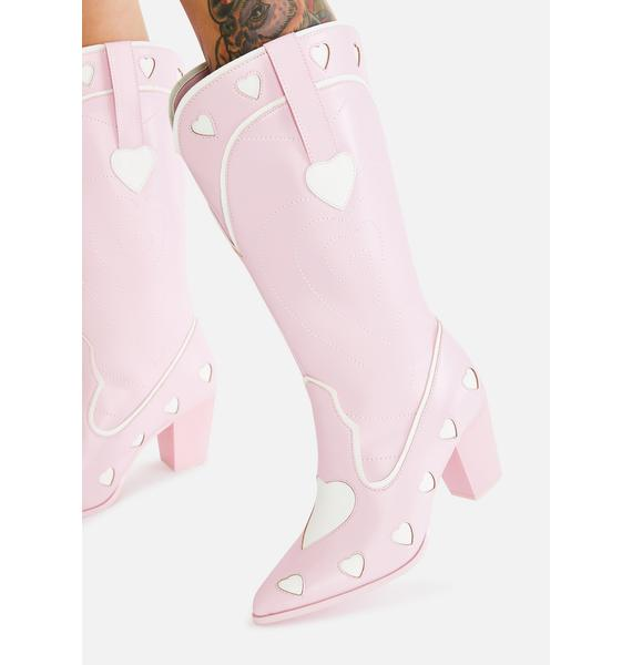 Y.R.U. Pink Heart Space Cowgirl Boots