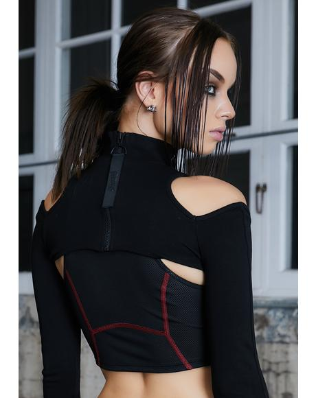 Kickdrum Cold Shoulder Zipper Shrug