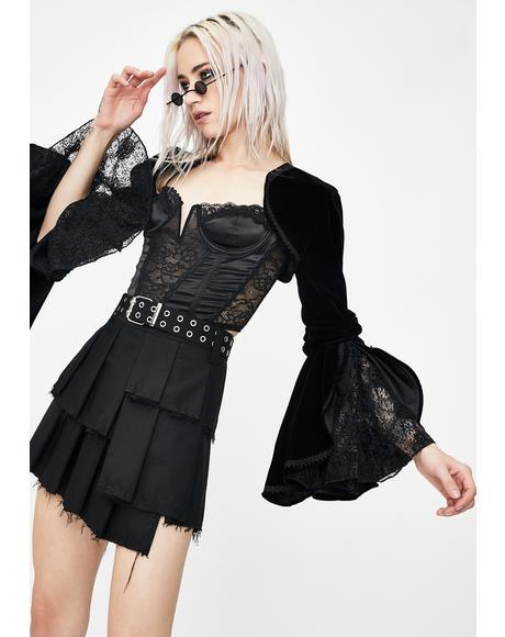 Gothic Lolita Black Velvet Cape