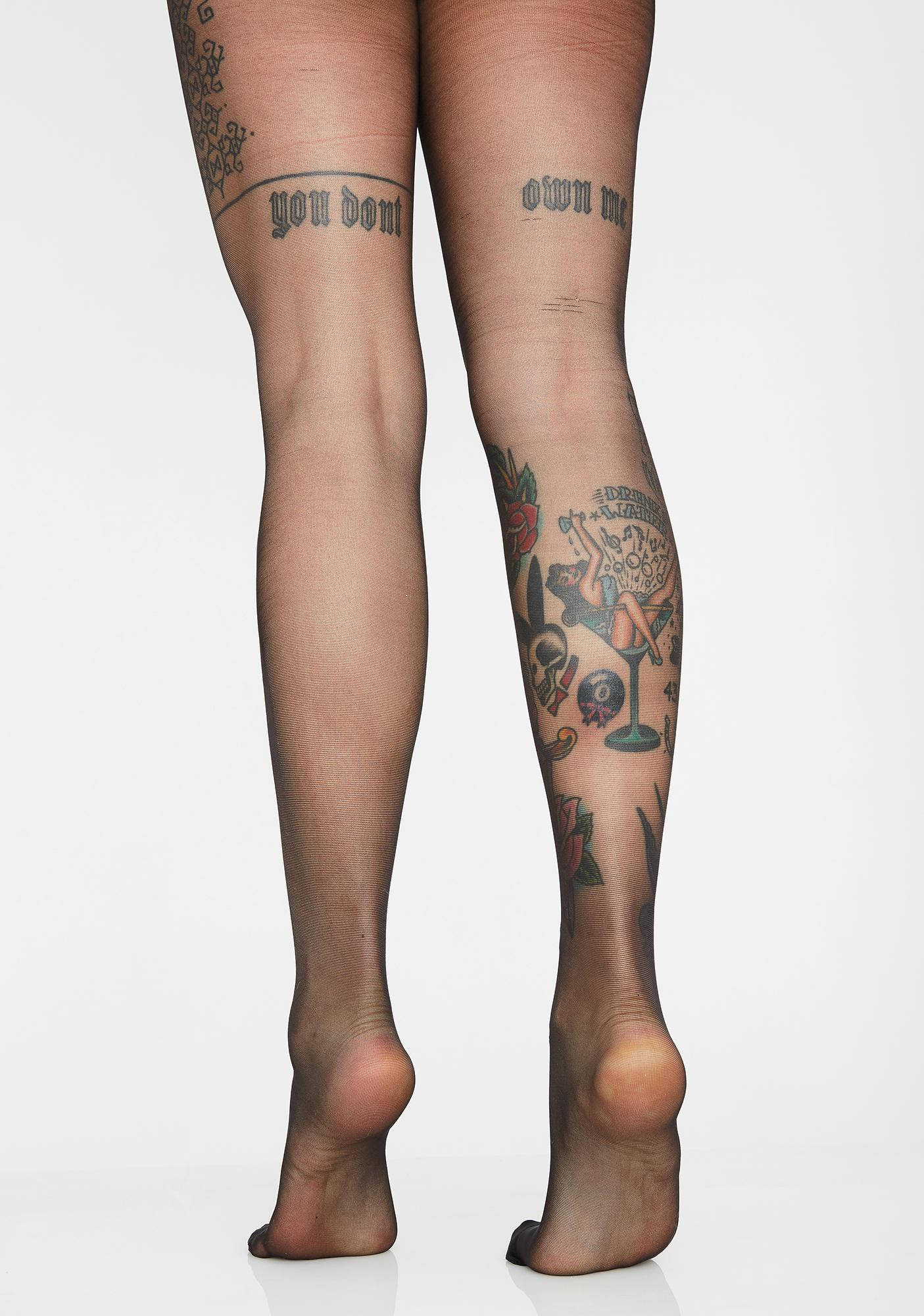 Tainted Rose Flocked Tights