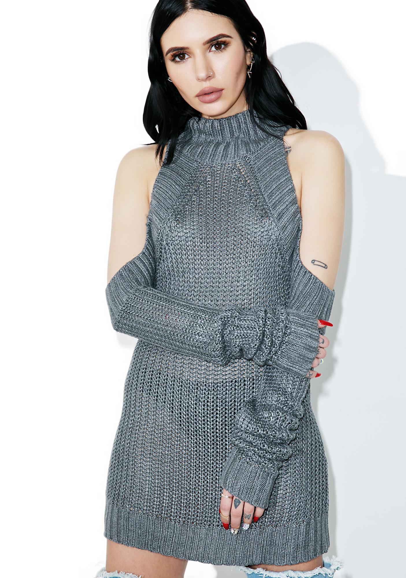 Grey Open Shoulder Knit Sweater
