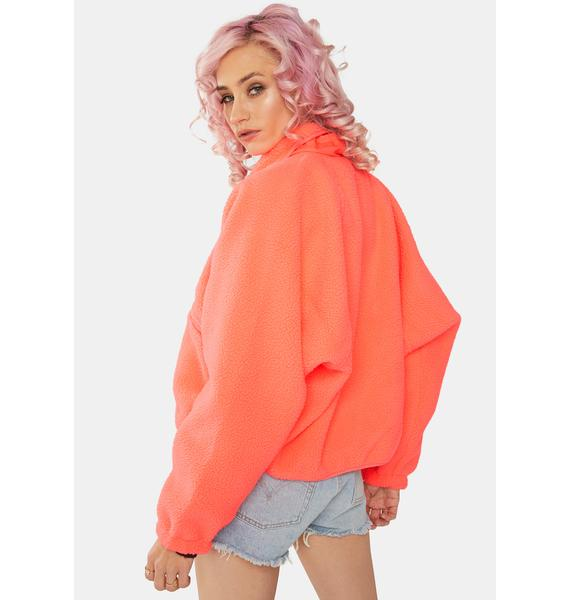 Free People Neon Coral Hit The Slopes Fleece Jacket