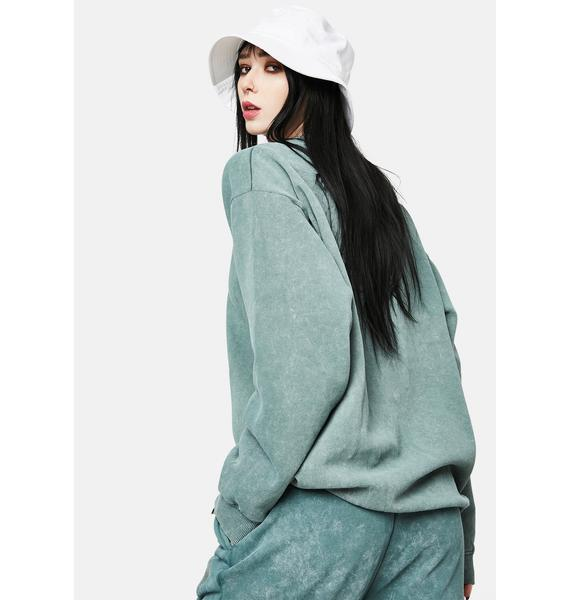 Daisy Street Zara Washed Green Butterfly Sweatshirt