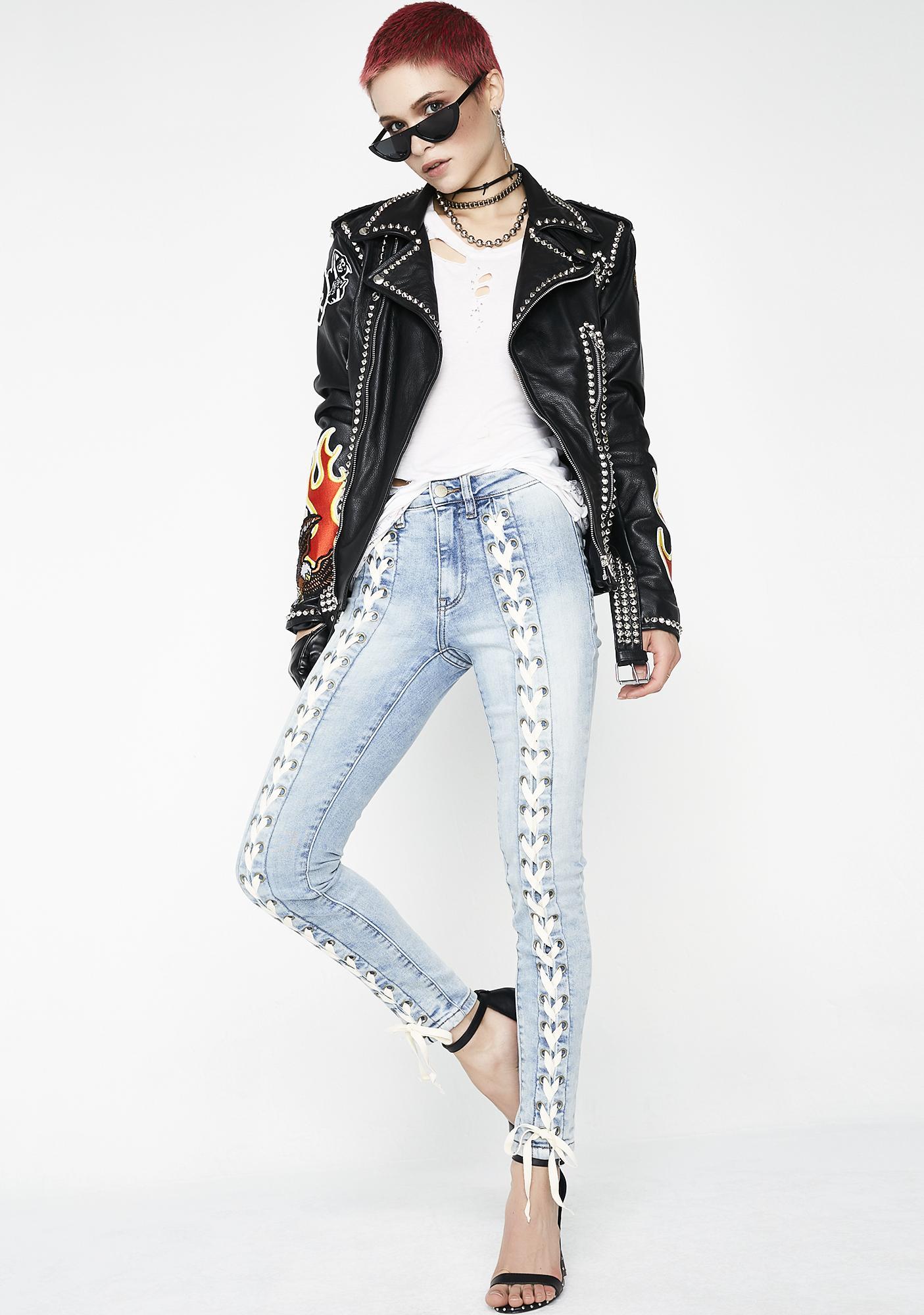 Neon Blonde Blondie Tie Up Jeans