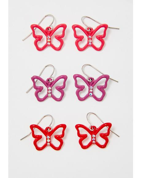 Butterfly Bling Earring Set