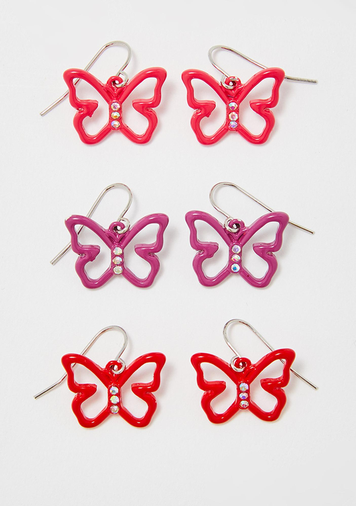 Butterfly Bling Earring Set