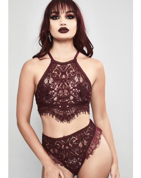 Wine Haunted Harlow Halter Bra
