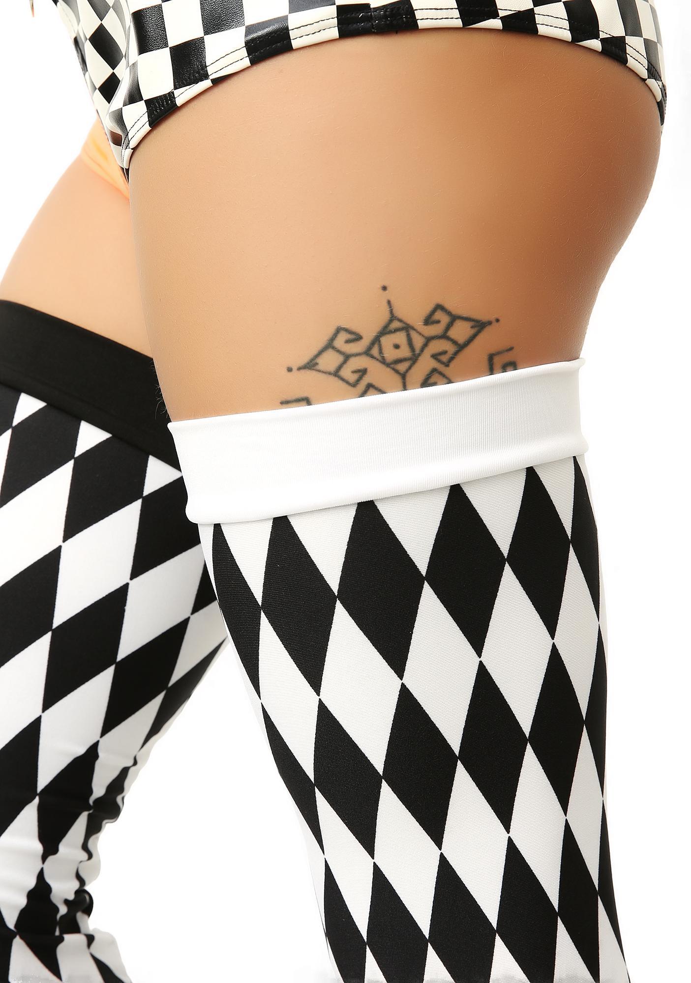 Playin' Tricks Checkered Thigh-Highs