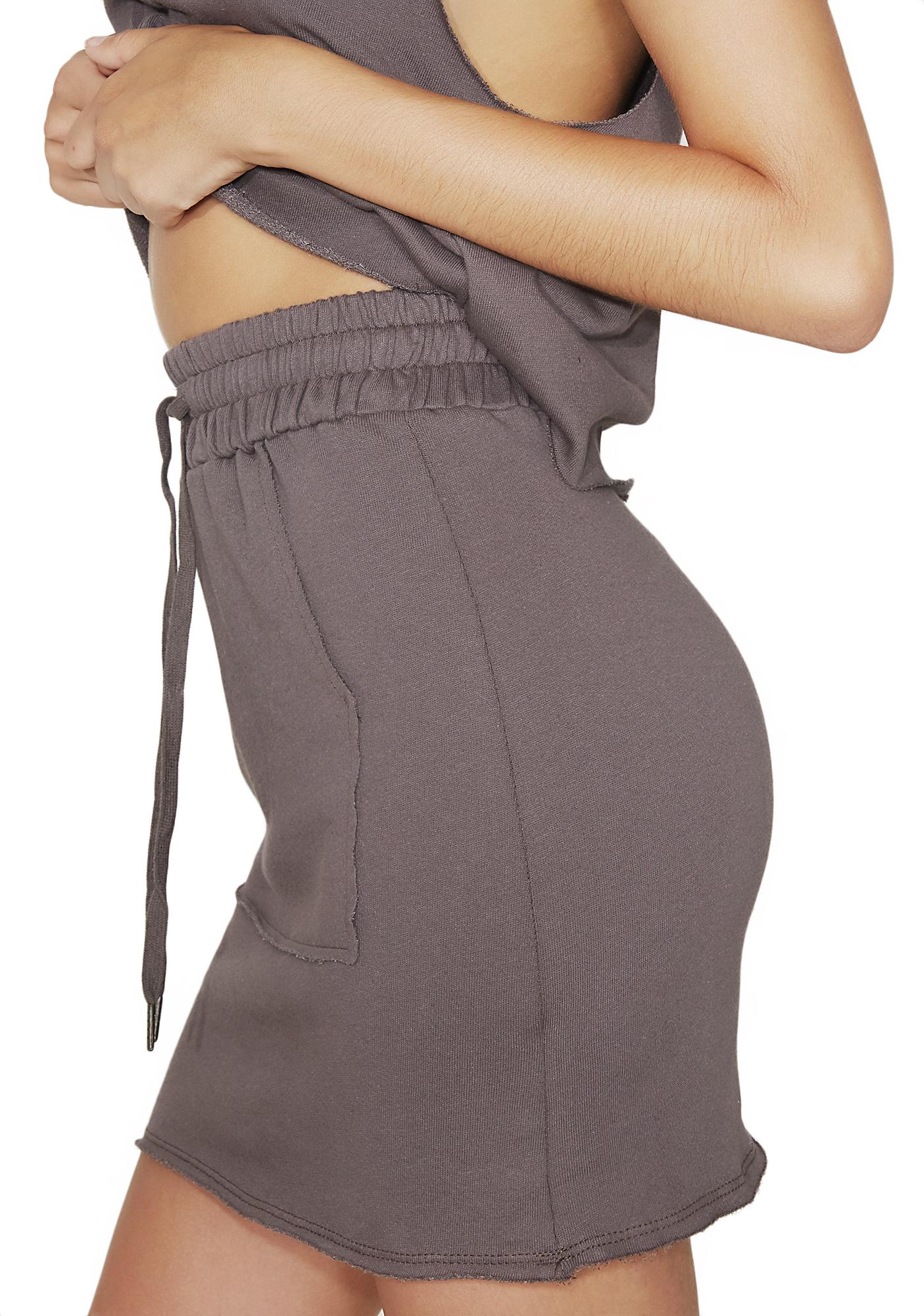 Sweatshirt Mini Drawstring Skirt Gray