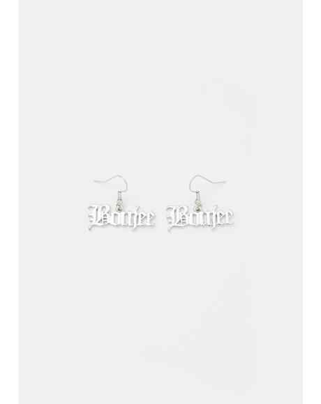 Boujee Appetite Nameplate Earrings