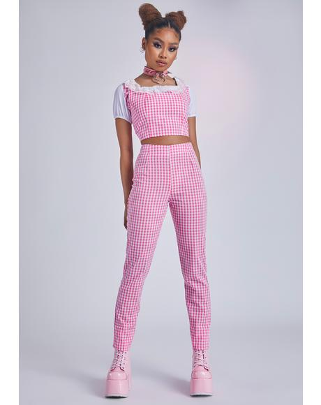 Lady Butter Ur Baguette Gingham Pants Set