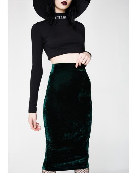No Mo' Feelings Velvet Skirt