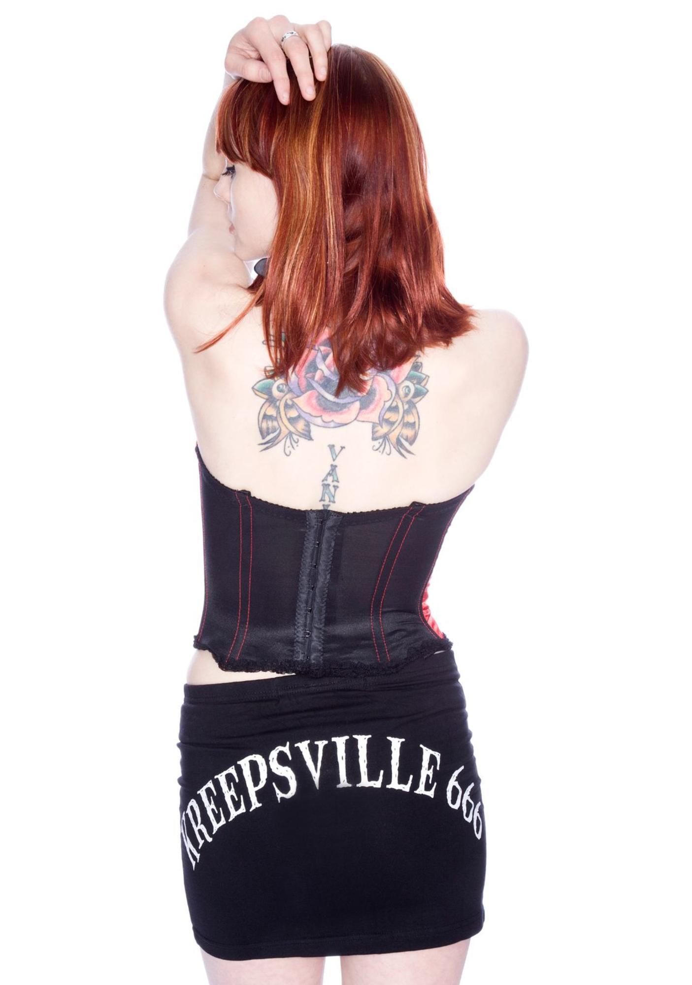 Kreepsville 666 Skelli Bone Mini Skirt